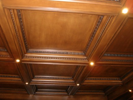 soffitti a cassettoni in legno noce